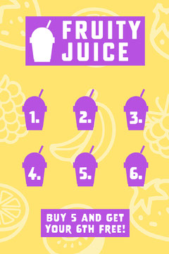 Purple Yellow and White Smoothie Bar Loyalty Card Juice