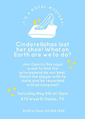 Blue Princess Invitation Invitation d'anniversaire