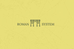 Yellow Roman Business Brand Logo with Aqueduct 標籤