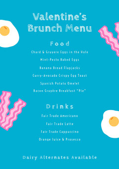 Blue Bacon and Eggs Valentines Day Party Brunch Menu Brunch