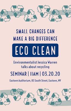 Pink and Navy Blue Recycling Talk Eco Flyer  Climate Change Posters