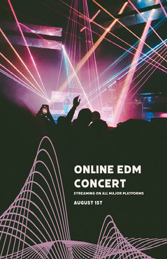 EDM Concert Flyer with Laser Show and Crowd Photo Night Club Flyer
