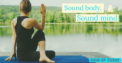 Yoga Studio Facebook Ad with Woman on Lakeshore Lake