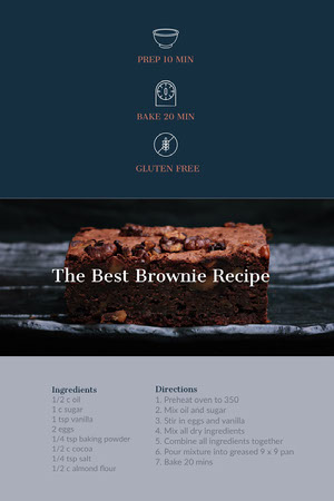 Blue and Brown Brownie Pinterest Recipe Card Receptenkaart