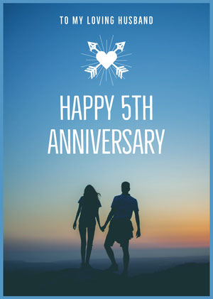 Blue and White With Silhouette Of Couple Happy Anniversary Card Biglietto di anniversario