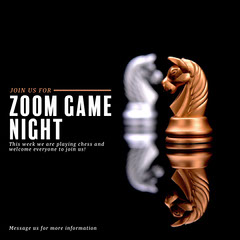 Gold and metal game night invitation Instagram Square Game Night Flyer