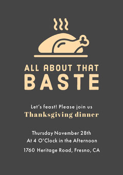 Thanksgiving All About That Baste Invitation Thanksgiving
