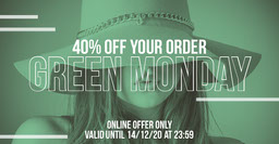 Green Hat Green Monday Sale Facebook Post