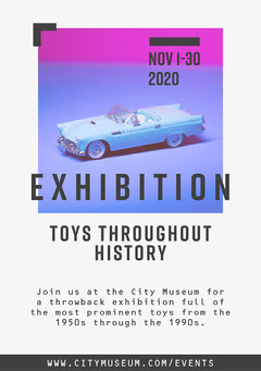 White Blue Pink Toy Museum Exhibition Flyer A5 Gallery