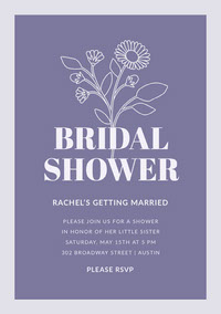 Blue Floral Bridal Shower Invitation Card Polttarikutsu