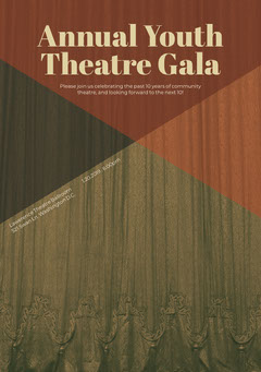 Brown and Beige Theatre Gala Invitation Card with State Curtain Gala Flyer