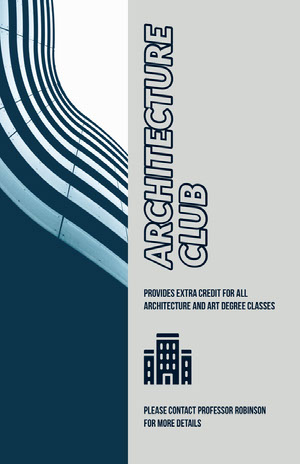 Grey and Blue Architecture Club Flyer Arts Poster