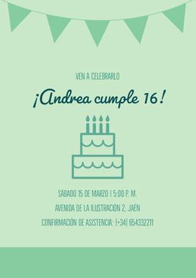 ¡Andrea cumple 16! Invitación de cumpleaños