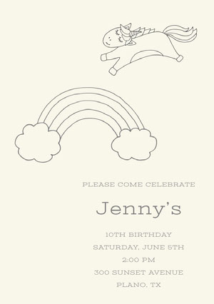 Black and White Illustrated Birthday Party Invitation Card with Rainbow and Unicorn Yksisarvissynttärikortti