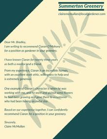 Green Plant Gardener Recommendation Letter Letter