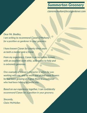 Green Plant Gardener Recommendation Letter Declaração de experiência