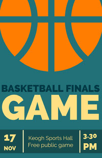 Illustrated Basketball Finals Game Poster with Ball Basketball
