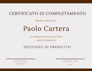 Paolo Cartera Certificato