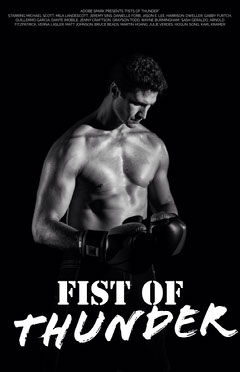 Black and White Boxing Movie Poster with Muscular Man Boxing