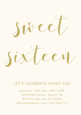 Gold Elegant Calligraphy Sweet Sixteen Birthday Invitation Card Birthday Invitation