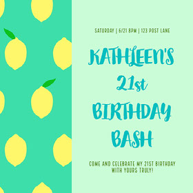 Blue and Yellow Birthday Bash Invitation Instagram Post Bachelorette Party Invitation