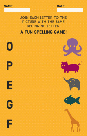 Orange English Spelling Game School Worksheet Fiche d'exercices