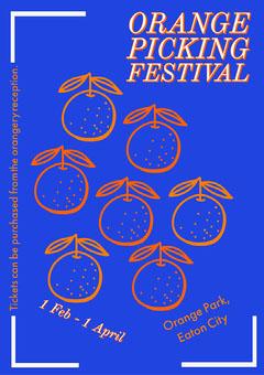 blue bold orange picking A3 poster Festival