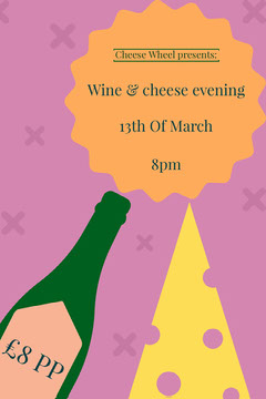 Illustrated Wine and Cheese Event Pinterest Graphic Cheese