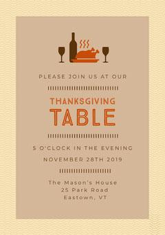 Turkey Thanksgiving Dinner Invite Thanksgiving