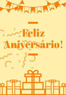 light yellow and orange birthday cards  Cartão de aniversário