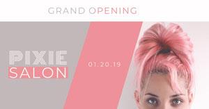 Pink and Violet Salon Advertisement Flyer für feierliche Eröffnung