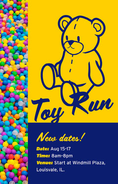 Blue and Yellow Toy Run Poster Kids