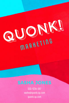 Red Blue Marketing Business Card Vertical Marketing