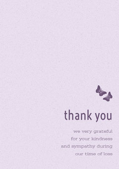 Pink and Purple Thank You for Attending Funeral Card with Butterflies Funeral