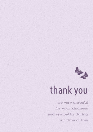 Pink and Purple Thank You for Attending Funeral Card with Butterflies 慰問卡