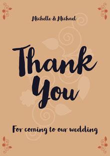 floral swirl wedding thank you card Wedding Thank You  Card