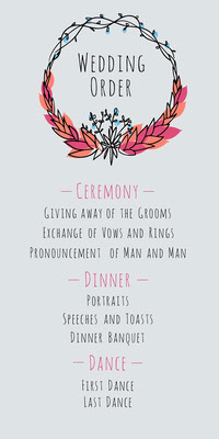 Red and Blue Wreath Wedding Program Boda