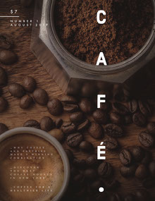 Brown Coffee Cafe Magazine Cover with Coffee Beans Magazine Cover