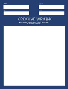 Blue and White Empty Creative Writing Worksheet Classroom