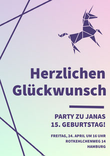 purple and green gradients unicorn birthday cards Geburtstagskarte
