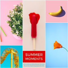 Pastel Colored Summer Mood Board with Collage Ice Creams