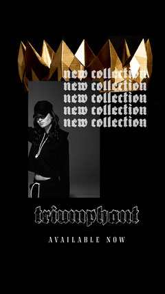 Black with Gold Crown 'Triumphant Street Wear'  Instagram story  New Collection