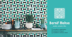 Turquoise Arabic Ceramic Tiles Horizontal Ad Interior Design
