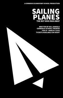 Black and White Paper Airplane School Play Poster School Posters