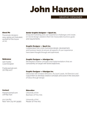 Black and White Graphic Designer Resume Creative Resume