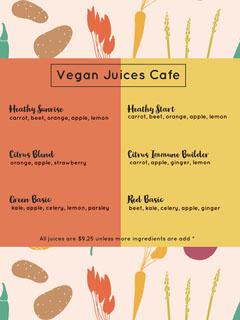 Yellow and Orange Juices Menu Vegan