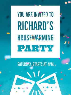 Blue and White Housewarming Party Invitation Card with Confetti Party Invitation