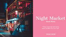Pink and Blue Night Market Ad Facebook Banner Portada de Facebook