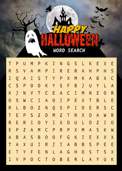 Spooky Illustrated Halloween Word Search Game Card Halloween