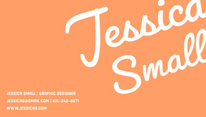 Orange Calligraphy Graphic Designer Business Card Biglietto da visita